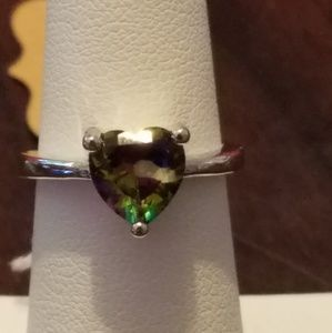 925 Sterling Silver Lab Created rainbow Topaz ring